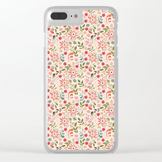 Birds and flowers 001 Clear iPhone Case