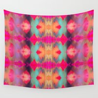 ikat Wall Tapestries featuring Watercolor Ikat by Nina May Designs