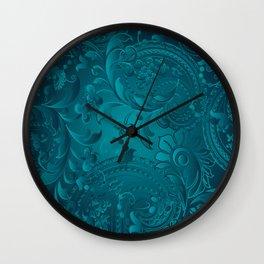 Metallic Teal Floral Pattern Wall Clock