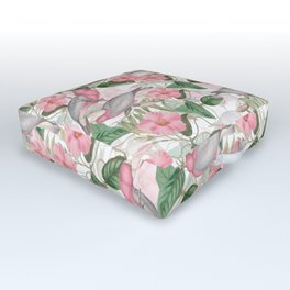 Vintage & Shabby Chic - Pink Flower Dance And Birds Outdoor Floor Cushion