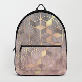 Gold blush grey Gradient cube Backpack