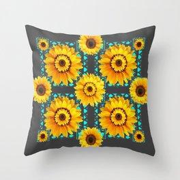 CHARCOAL GREY SOUTHWESTERN SUNFLOWERS ART Throw Pillow