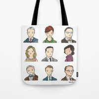 mad men Tote Bags featuring Mad Men by Steven Learmonth