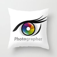 photographer Throw Pillows featuring Photographer by Jatmika jati