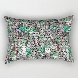 Forest Cats Green Watercolor Rectangular Pillow