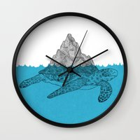 turtle Wall Clocks featuring Turtle by David Penela
