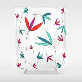 Happy Flowers Drawing by Emma Freeman Designs Shower Curtain