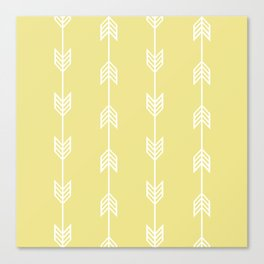 Running Arrows in White and Yellow Canvas Print