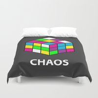 chaos Duvet Covers featuring Chaos by Dizzy Moments