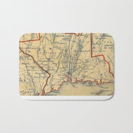Vintage Map of New Haven County CT (1846) Bath Mat