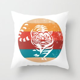 Vintage Tiger Lover Retro Style 80's and 70's Gift Throw Pillow