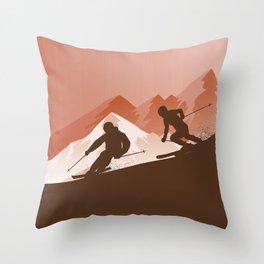 Best Skiing • Winter Sport • Orange Design Ever Throw Pillow