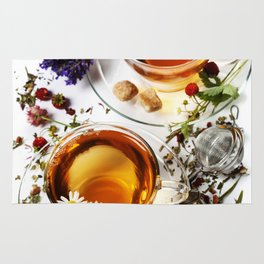 Herbal tea with honey, wild berry and flowers on wooden background Rug