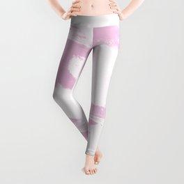 Pink & White Watercolor Design Leggings