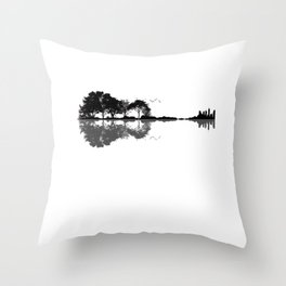 Acoustic Guitar Forest Nature Reflection Musician Throw Pillow