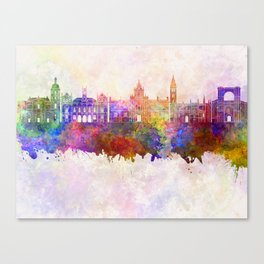 Valladolid skyline in watercolor background Canvas Print