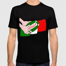 Rugby Italy Black Mens Fitted Tee MEDIUM
