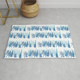 Hygge Forest on white, small scale Rug