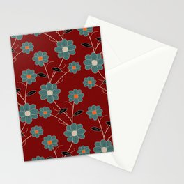 Wild Flowers On Red Spring Summer Floral Pattern Stationery Cards