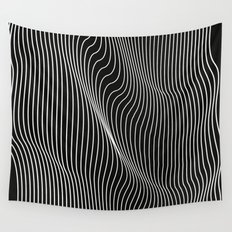 Minimal curves black Wall Tapestry