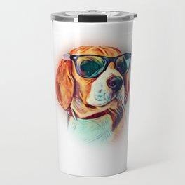 Beagle Colorful Neon Dog Sunglasses Travel Mug