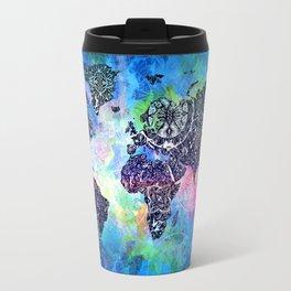 world map mandala watercolor Travel Mug