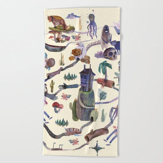 the big map Beach Towel