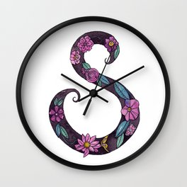 Floral S Wall Clock