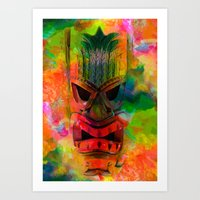 karu kara Art Prints featuring Tiki Kara by Ionic Slasher