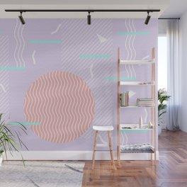 Memphis Summer Lavender Waves Wall Mural