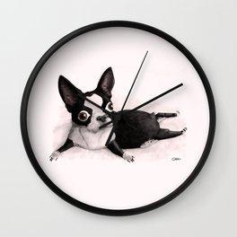 The Little Fat Boston Terrier Wall Clock