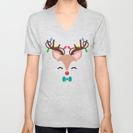 Rudolph Red Nose Reindeer with Red Nose and Holiday Lights in Antlers Unisex V-Neck