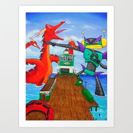 Battle Over Fish and Chips Art Print