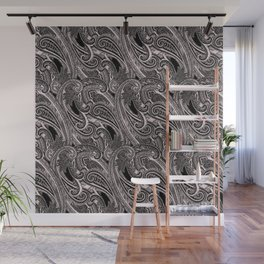 paisley wave in black and white Wall Mural