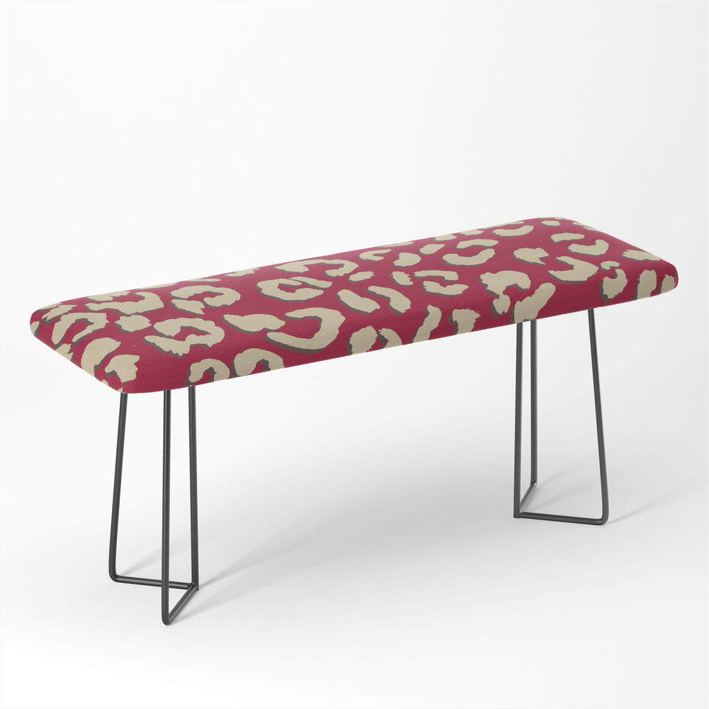 Modern_Brown_Beige_Leopard_Pattern_Print_On_Red_Color_Trends_Bench_by_girlytrend