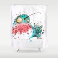 hummingbird Shower Curtains featuring Hummingbird by Morgan Ofsharick - meoillustration