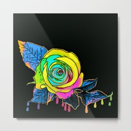 Abstract Rose on black Background Metal Print