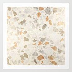 Rustic elegant ivory gray brown stone marble Art Print