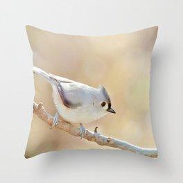 Sunlit Titmouse Throw Pillow