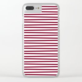Dark red and white thin horizontal stripes Clear iPhone Case