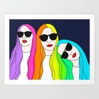 haim Art Prints featuring HAIM by Neon Wonderland