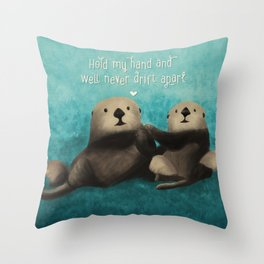 Sea Otters in Love Throw Pillow