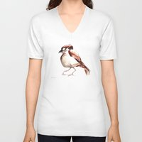 sparrow V-neck T-shirts featuring Sparrow by Katrin Kadelke