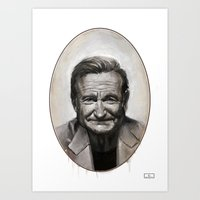robin williams Art Prints featuring Robin williams by MK-illustration