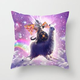 Lazer Warrior Space Cat Riding Llama Eating Pizza Throw Pillow
