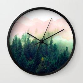 Watercolor mountain landscape Wall Clock