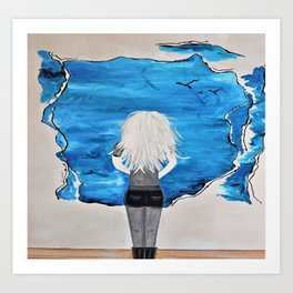 Enticing Interlude. Illustrated for Author Michelle Mankin. Girl Sunset Blue Blonde Sky Art Print