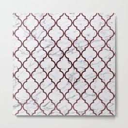 Burgundy gray white marble moroccan quatrefoil Metal Print