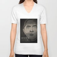 dracula V-neck T-shirts featuring Dracula  by James Northcote