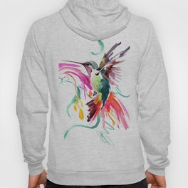Flying Hummingbird and Abstract Flowers, Turquoise, pink watercolor bird artwork Hoody